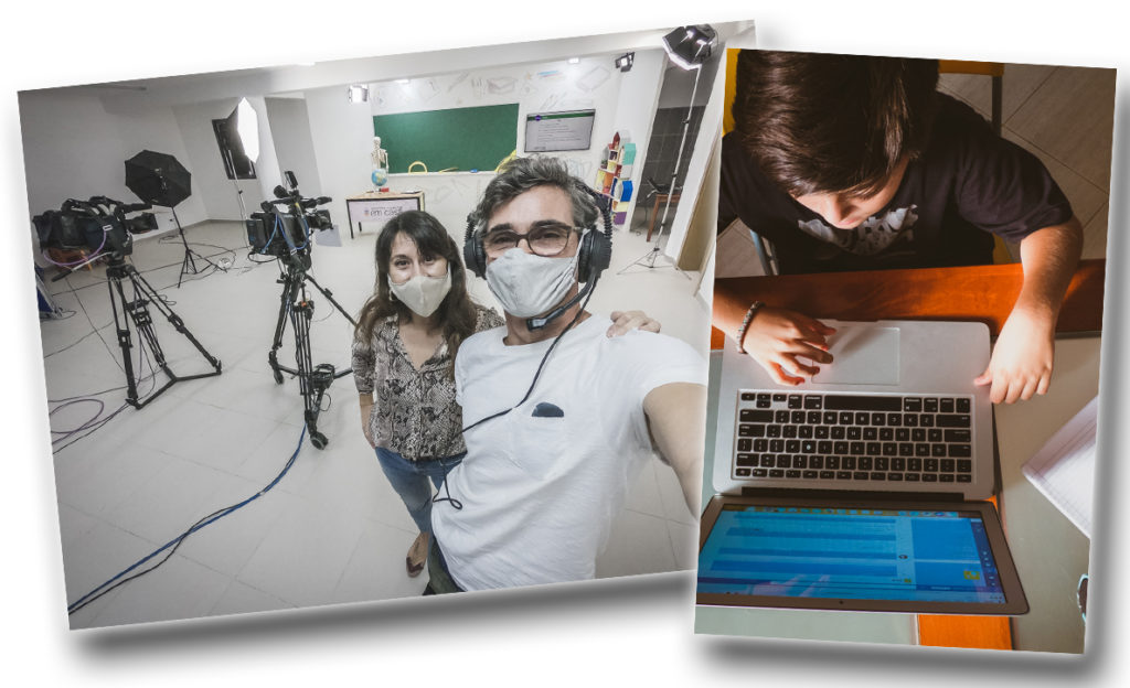 homem e mulher de máscara e criança ao computador em telescola