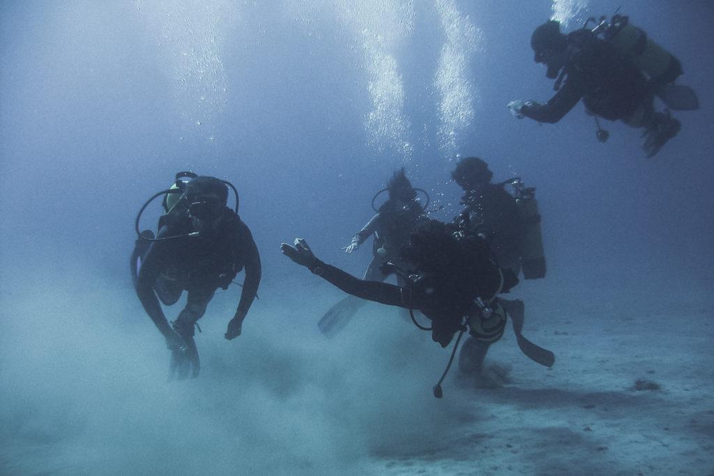 4 mergulhadores no fundo do mar