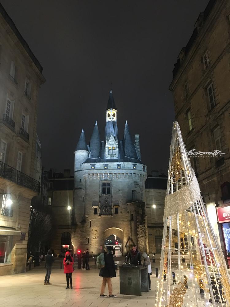 Monumento gótico em Bordéus com  árvore de Natal
