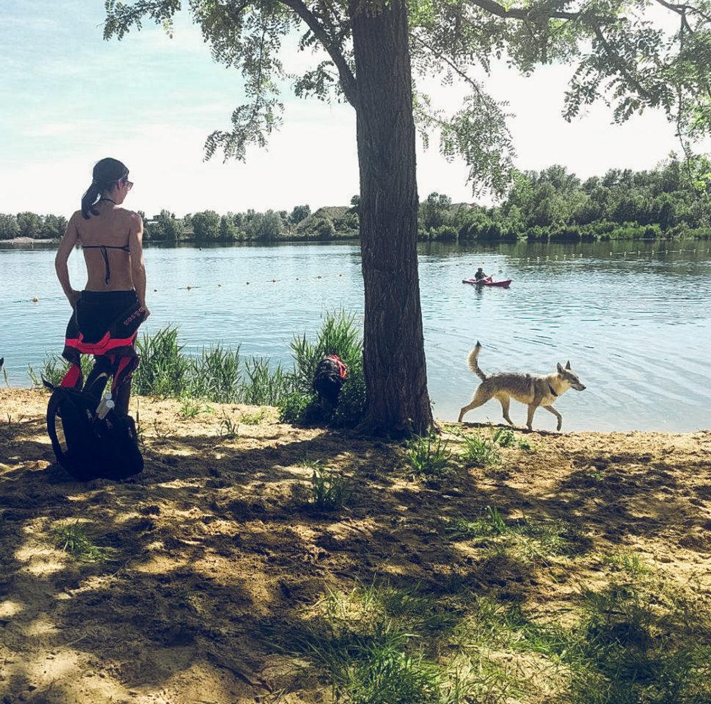 Mulher à beira de um lago com o cão